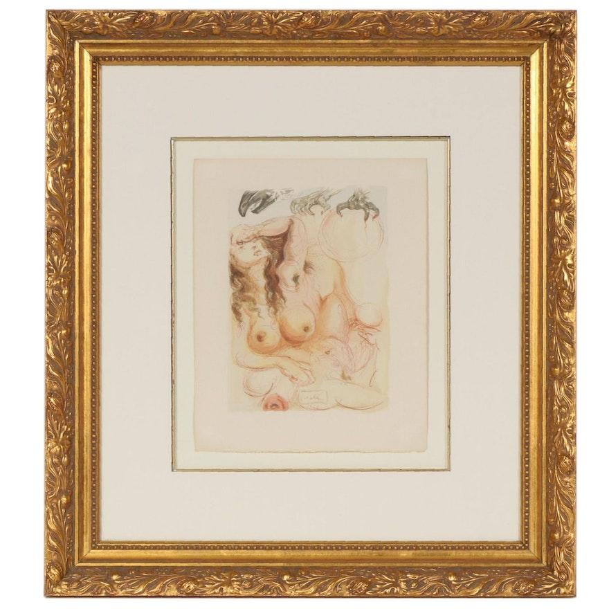 "Salvador Dalí Wood Engraving ""Purgatory Canto 9: The Dream"""