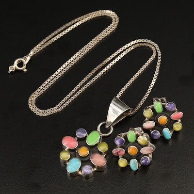 Sterling Multi-Colored Glass Cluster Necklace and Earrings Set