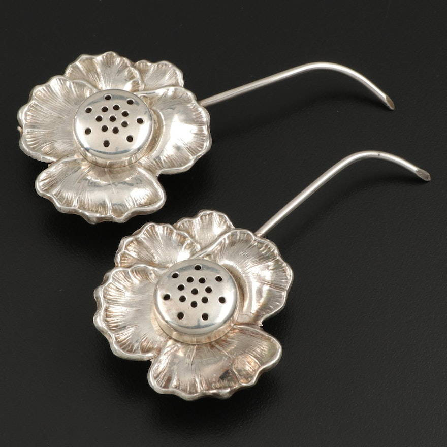 Apollo Sterling Silver Flower Shaped Salt and Pepper Shakers, Late 19th Century