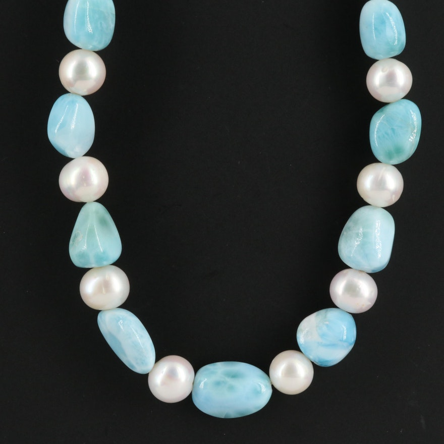 Pearl and Larimar Beaded Necklace with Sterling Clasp
