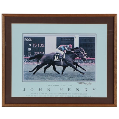 Tony Leonard Signed and Inscribed John Henry Lithograph, Framed