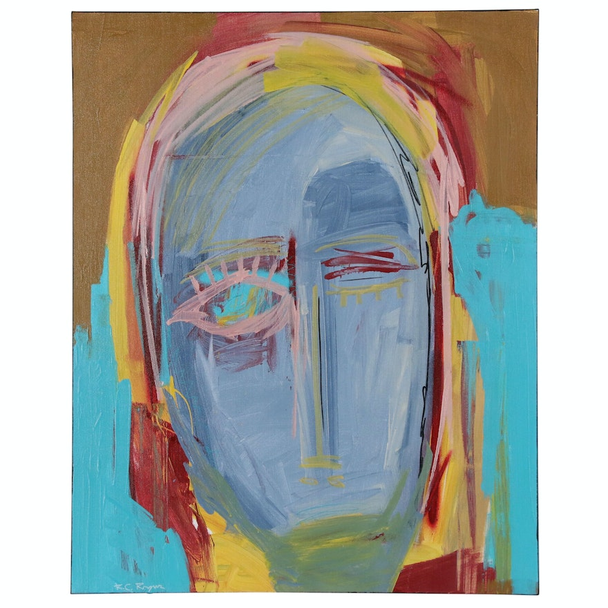 """R.C. Raynor Abstract Portrait Acrylic Painting """"Battle Fatigue"""", 2020"""