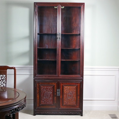 Chinese Rosewood Illuminated Display Cabinet