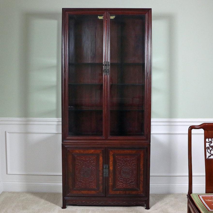 Chinese Rosewood Illuminated Display Cabinet