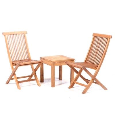 Teak Folding Patio Chairs and Side Table