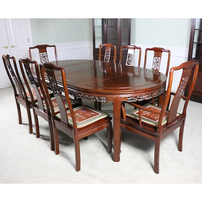 "Chinese Carved Rosewood ""Flower and Bird"" Dining Table and Chairs"