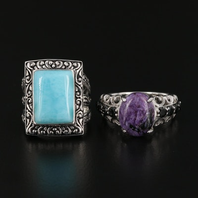Sterling Charoite, Larimar, and Spinel Rings