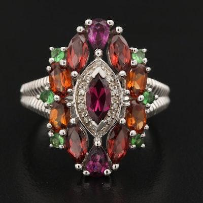 Sterling Silver Rhodolite Garnet, Tsavorite and Diamond Ring