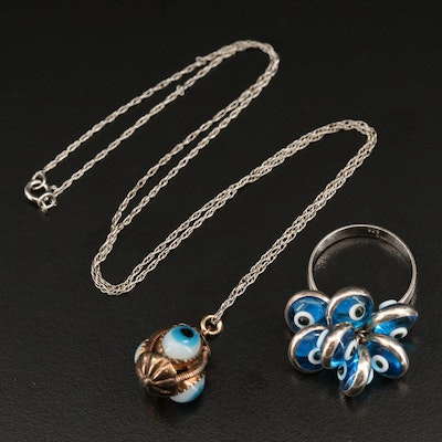 "Sterling Silver ""Evil Eye"" Charm Ring and Necklace"
