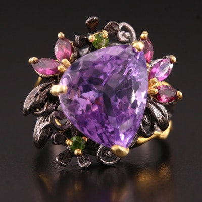 Sterling Silver Amethyst, Diopside and Garnet Cocktail Ring