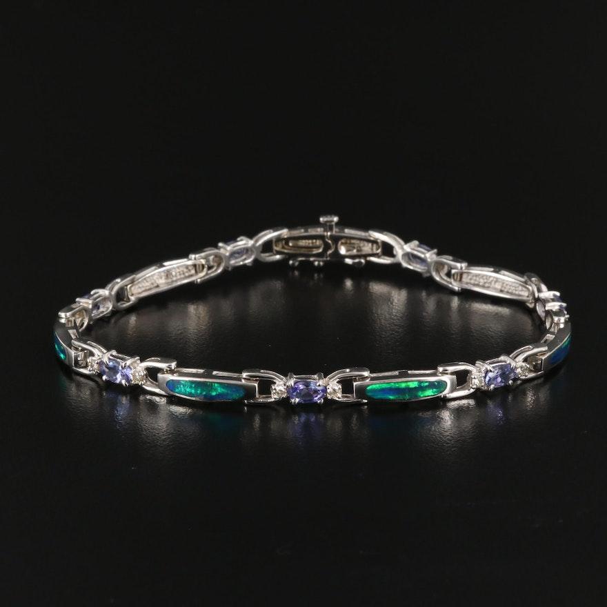 14K Opal, Tanzanite and Diamond Link Bracelet