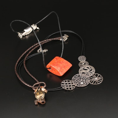 Silpada Sterling Necklaces with Coral, Glass and Cubic Zirconia
