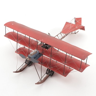 Simple Model Fokker Tri-Plane with Metal Cage Fuselage, Mid-20th C
