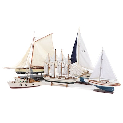 Wood and Cloth Models of Four-Masted Barque, Two Sailboats, Sloop, Shrimp Boat