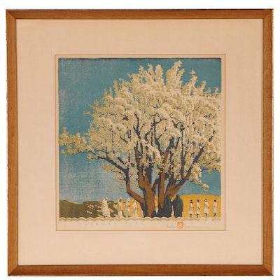"Gustave Baumann Woodcut ""Processional"", 1951"