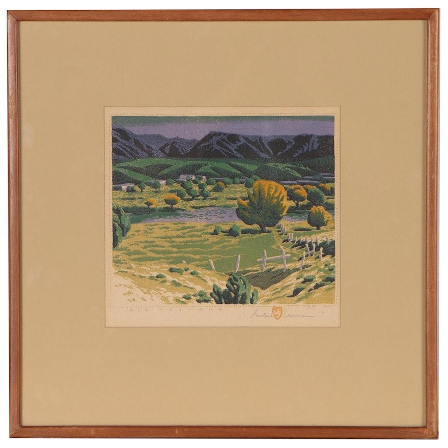 """Gustave Baumann Woodcut """"Rio Tesuque"""", 1946"""