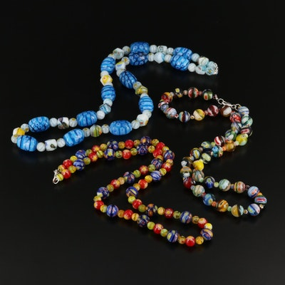 Millefiori Glass Bead Necklaces with Sterling Silver Clasps