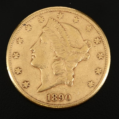 Better Date Low Mintage 1890-CC Liberty Head $20 Gold Double Eagle, Type II