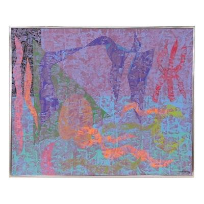 "Walter Stomps Abstract Acrylic Painting ""Moon Glow II"", 1998"