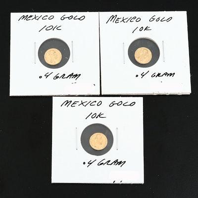 "10K Gold Miniature Mexican Emperor Maximilian Peso ""Fantasy"" Coins"