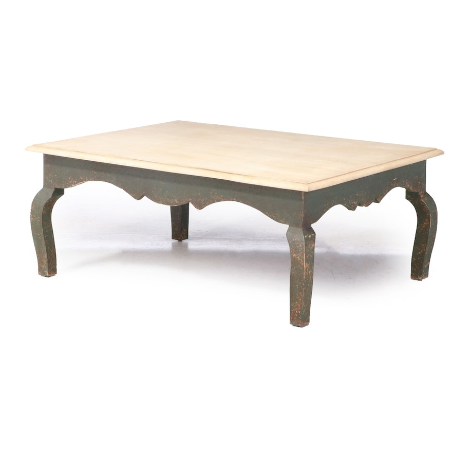 """NW"" French Provincial Style Painted Coffee Table"