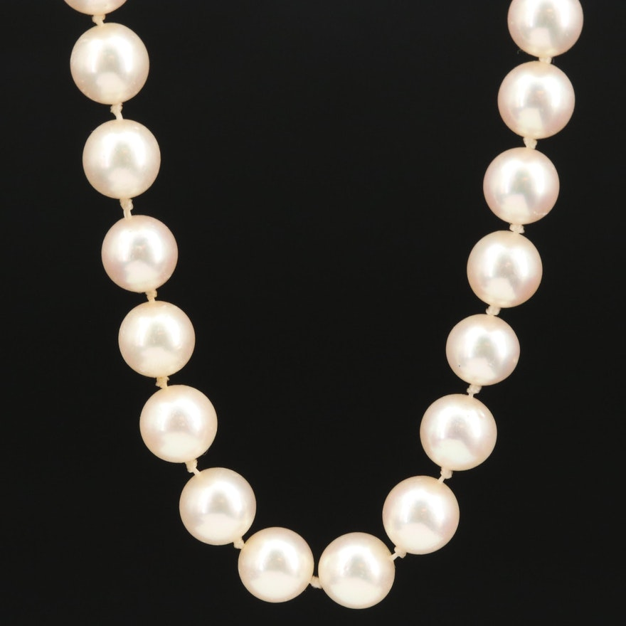 Culture Pearl Necklace with Diamond and Mixed Gemstone Floral Clasp