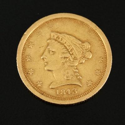 1843-O Liberty Head $2.50 Gold Quarter Eagle