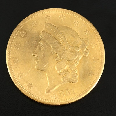 Better Date Low Mintage 1851-O Liberty Head $20 Gold Double Eagle
