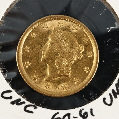 Better Date Low Mintage 1852-O Liberty Head $1 Gold Coin