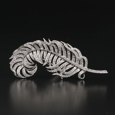 18K 1.75 CTW Diamond Feather Brooch