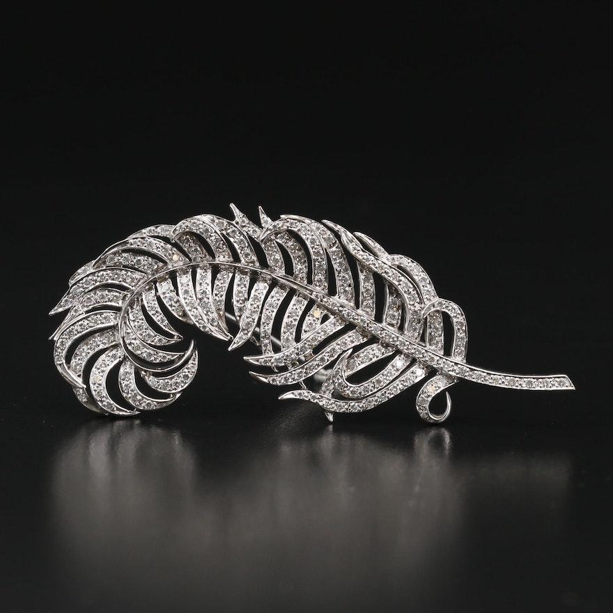 18K 1.75 CTW Diamond Feather Brooch