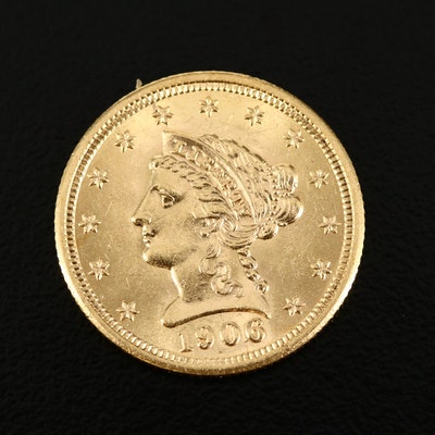 Low Mintage 1906 Liberty Head $2.50 Gold Quarter Eagle