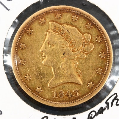 Better Date Low Mintage 1843-O Liberty Head $10 Gold Eagle