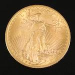 1908 Saint-Gaudens $20 Gold Double Eagle, No Motto
