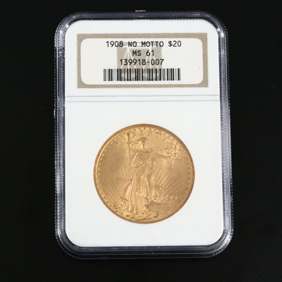 NGC Graded MS61 1908 Saint-Gaudens $20 Gold Double Eagle, No Motto