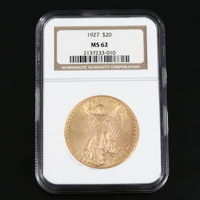 NGC Graded MS62 1927 Saint-Gaudens $20 Gold Double Eagle