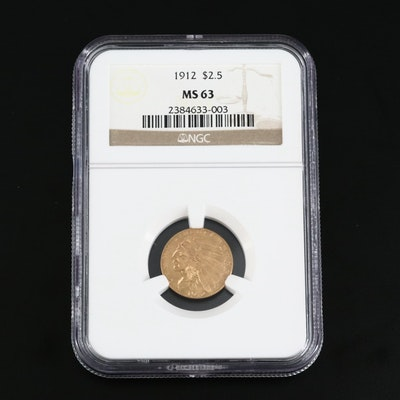 NGC Graded MS63 1912 Indian Head Gold $2.50 Quarter Eagle