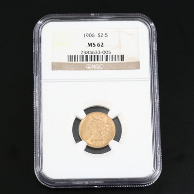 NGC Graded MS62 Low Mintage 1906 Liberty Head $2.50 Gold Quarter Eagle