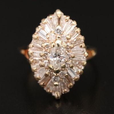 14K 1.58 CTW Diamond Ballerina Ring