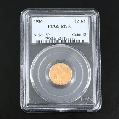 PCGS Graded MS61 1926 Indian Head Gold $2.50 Quarter Eagle
