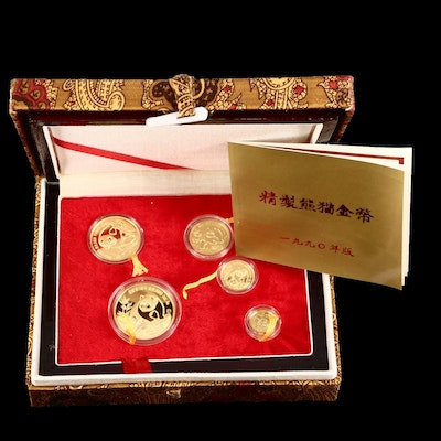 1990 China Gold Panda Proof .999 Gold Five Coin Set
