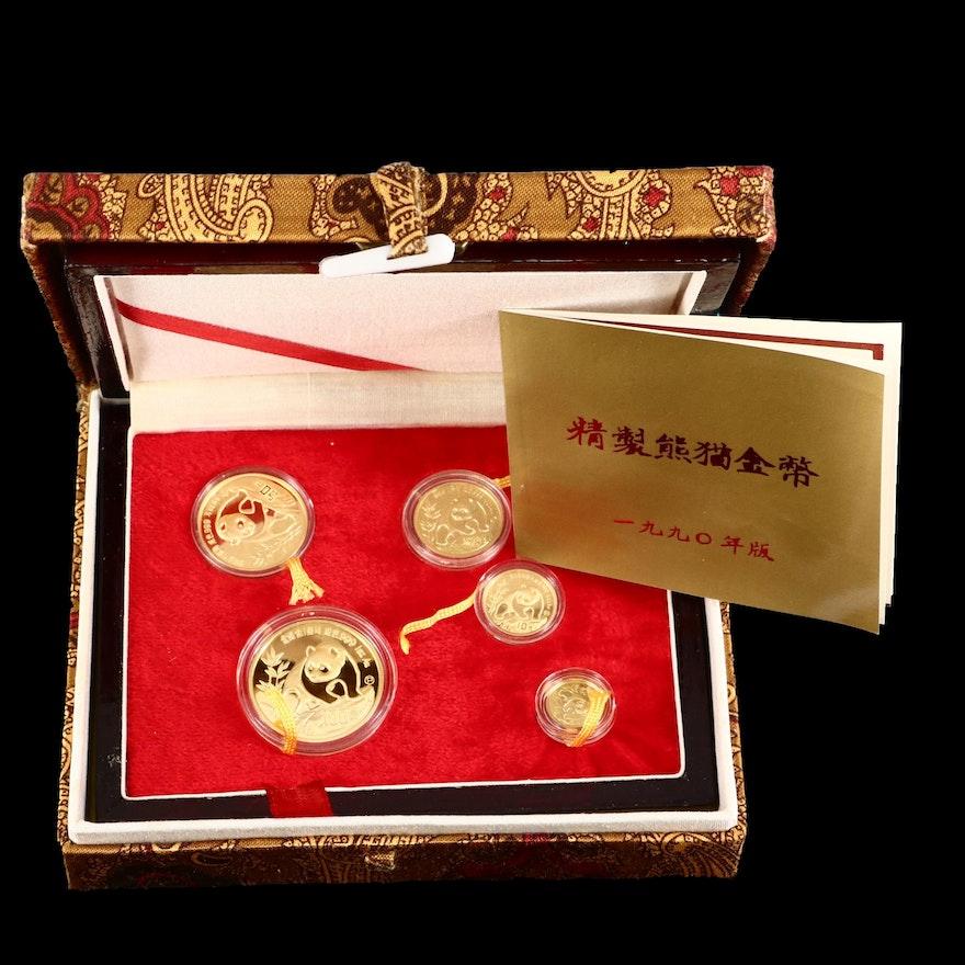 1990 China Gold Panda Proof .999 Gold Five Coin Set