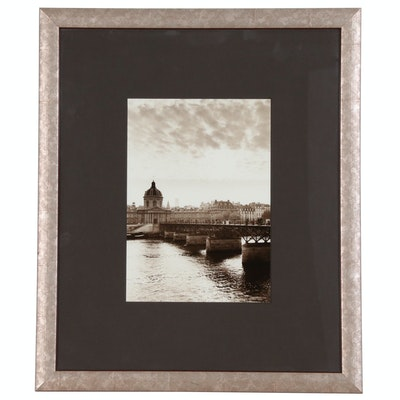 Silver Print Photograph of Pont des Arts in Paris, Mid-20th Century