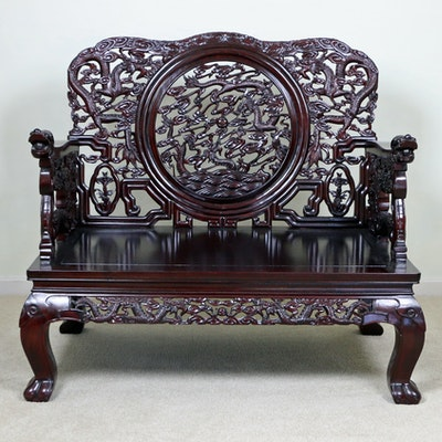 Chinese Rosewood Carved Bench with Dragon Motif