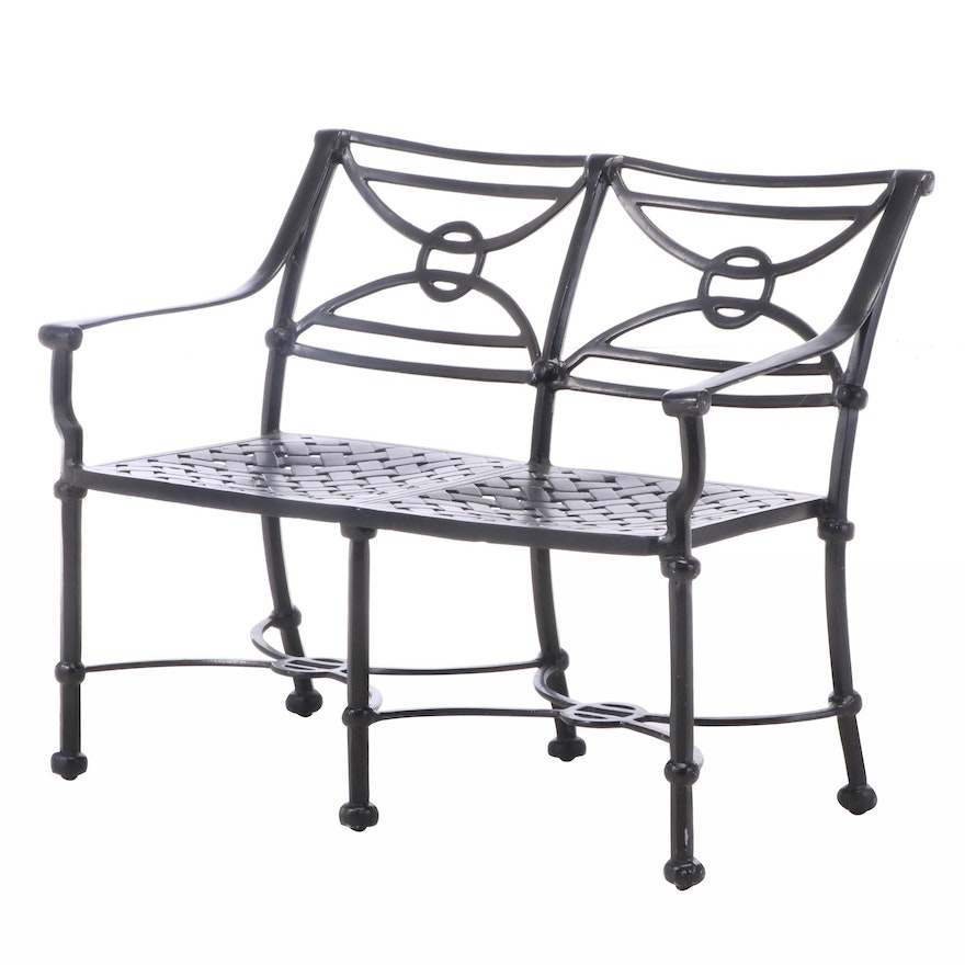Ebonized Metal Patio Settee