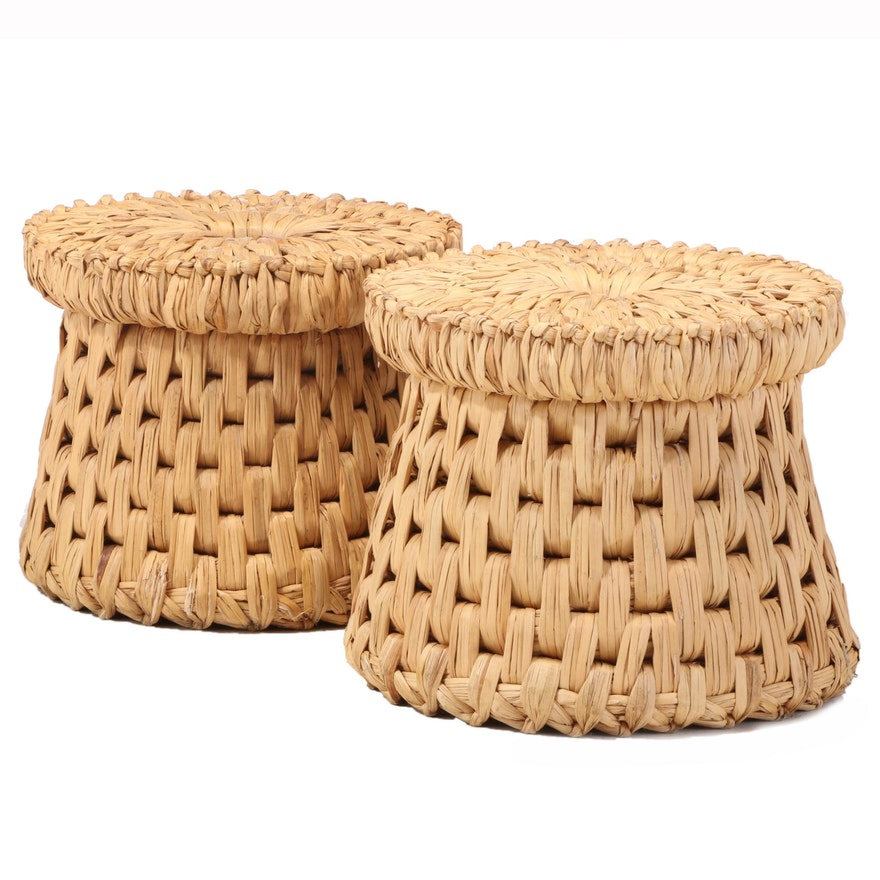 Two Mexican Hand-Woven Palm Stools