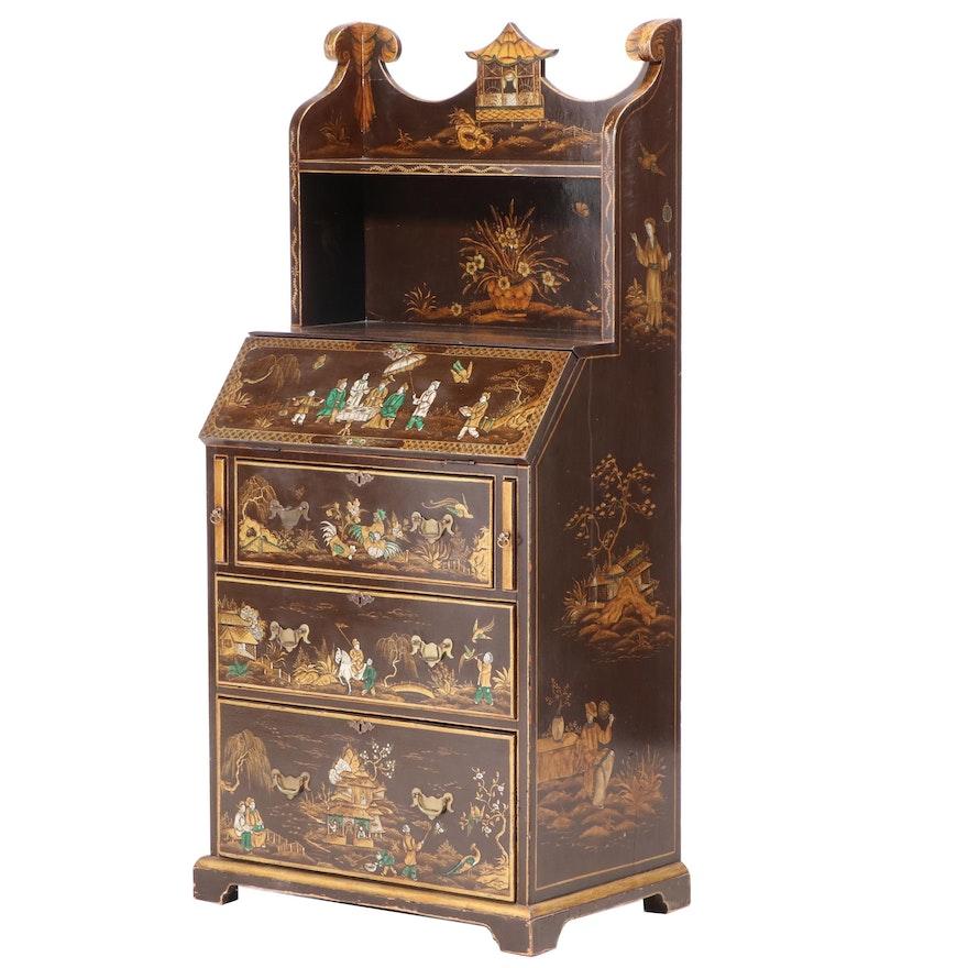 Victorian Chinoiserie-Decorated Walnut Bureau Bookcase, Second Half 19th Century