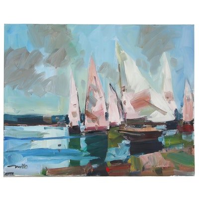 "Jose Trujillo Nautical Oil Painting ""Calm Sails"""