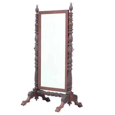 American Late Classical Mahogany Cheval Mirror, circa 1830