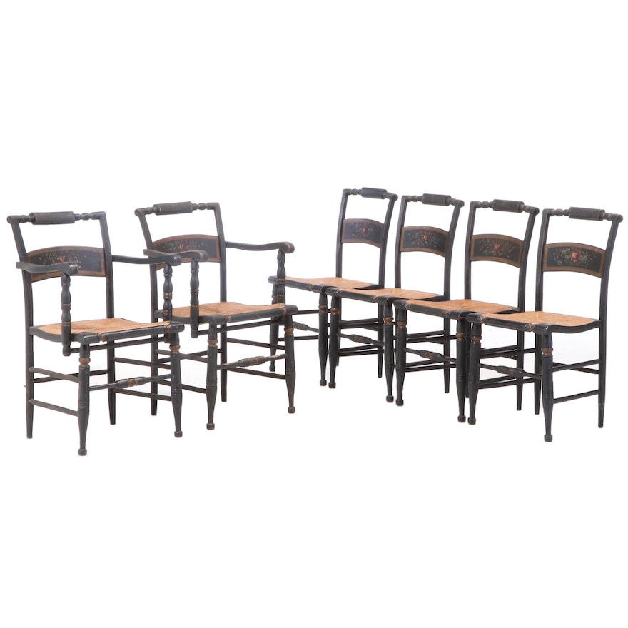 "Six American Ebonized, Parcel-Gilt, and Polychromed ""Fancy"" Dining Chairs"